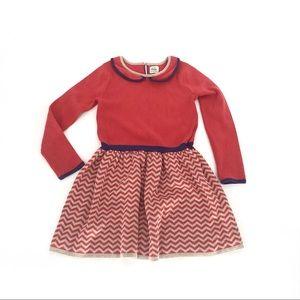 Boden mini girls long sleeve dress zig zag
